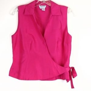 Allison Taylor Silk Wrap Top 6 Petite Pink
